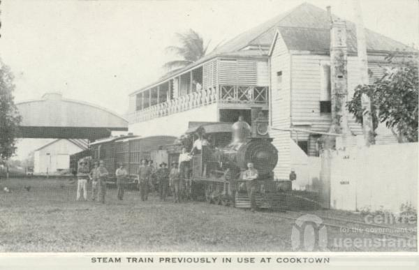"<span class=""caption-caption"">Steam train, Cooktown</span>, c1960. <br />Postcard folder by <span class=""caption-publisher"">Unknown Publisher</span>, collection of <span class=""caption-contributor"">Centre for the Government of Queensland</span>."