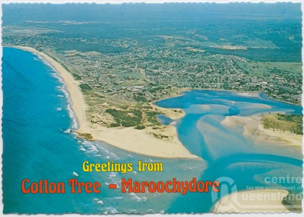 "<span class=""caption-caption"">Aerial view showing the mouth of the Maroochy River featuring Cotton Tree and the surfing beach, Maroochydore</span>, c1970-2000. <br />Postcard, collection of <span class=""caption-contributor"">Murray Views Collection</span>."