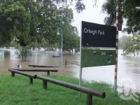 "<span class=""caption-caption"">Orleigh Park, West End in flood, January 2011</span>. <br />Digital image, collection of <span class=""caption-contributor"">Liz Jordan</span>."