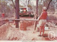 "<span class=""caption-caption"">Handmining at Tomahawk Creek</span>, 1964. <br />Postcard folder by <span class=""caption-publisher"">Murray Views Pty Ltd</span>, collection of <span class=""caption-contributor"">Centre for the Government of Queensland</span>."