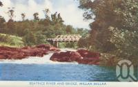 "<span class=""caption-caption"">Beatrice River and Bridge, Millaa Millaa</span>, c1950. <br />Postcard folder by <span class=""caption-publisher"">Murray Views Pty Ltd</span>, collection of <span class=""caption-contributor"">Centre for the Government of Queensland</span>."