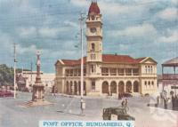 "<span class=""caption-caption"">Post Office, Bundaberg</span>, c1938. <br />Postcard folder by <span class=""caption-publisher"">Murray Views Pty Ltd</span>, collection of <span class=""caption-contributor"">Centre for the Government of Queensland</span>."