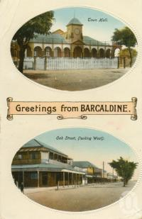 "<span class=""caption-caption"">Town Hall and Oak Street, Barcaldine</span>, c1914. <br />Postcard by <span class=""caption-publisher"">R.Park</span>, collection of <span class=""caption-contributor"">Centre for the Government of Queensland</span>."