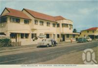 "<span class=""caption-caption"">Hotel Mooloolaba, The Esplanade, Mooloolaba</span>, c1961. <br />Postcard folder by <span class=""caption-publisher"">Sydney G Hughes Pty Ltd</span>, collection of <span class=""caption-contributor"">Centre for the Government of Queensland</span>."