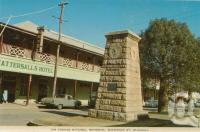 "<span class=""caption-caption"">Sir Thomas Mitchell memorial, Shamrock Street Blackall</span>, c1964. <br />Postcard folder by <span class=""caption-publisher"">Sydney G Hughes Pty Ltd</span>, collection of <span class=""caption-contributor"">Centre for the Government of Queensland</span>."