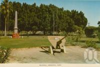 "<span class=""caption-caption"">Blackall Memorial Park</span>, c1964. <br />Postcard folder by <span class=""caption-publisher"">Sydney G Hughes Pty Ltd</span>, collection of <span class=""caption-contributor"">Centre for the Government of Queensland</span>."
