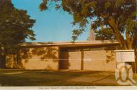 "<span class=""caption-caption"">The Holy Trinity Church of England, Blackall</span>, c1964. <br />Postcard folder by <span class=""caption-publisher"">Sydney G Hughes Pty Ltd</span>, collection of <span class=""caption-contributor"">Centre for the Government of Queensland</span>."