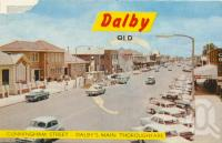 "<span class=""caption-caption"">Cunningham Street, Dalby's main thoroughfare</span>, 1972. <br />Postcard folder by <span class=""caption-publisher"">Samuel Lee & Co Pty Ltd</span>, collection of <span class=""caption-contributor"">Centre for the Government of Queensland</span>."