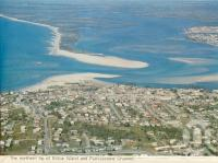 "<span class=""caption-caption"">Northern tip of Bribie Island and Pumicestone Channel</span>, 1975. <br />Postcard folder by <span class=""caption-publisher"">Bernard Kuskopf</span>, collection of <span class=""caption-contributor"">Centre for the Government of Queensland</span>."