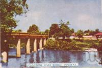 "<span class=""caption-caption"">Johnstone River bridge, Innisfail</span>, c1952. <br />Postcard folder by <span class=""caption-publisher"">Murray Studios Pty Ltd</span>, collection of <span class=""caption-contributor"">Centre for the Government of Queensland</span>."