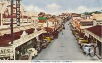 "<span class=""caption-caption"">Central Mary Street, Gympie</span>, c1956. <br />Postcard folder by <span class=""caption-publisher"">Murray Views Pty Ltd</span>, collection of <span class=""caption-contributor"">Centre for the Government of Queensland</span>."