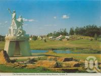 "<span class=""caption-caption"">Pioneer's statue & Historical Mining Museum, Gympie</span>, c1980. <br />Postcard folder by <span class=""caption-publisher"">Murray Views Pty Ltd</span>, collection of <span class=""caption-contributor"">Centre for the Government of Queensland</span>."