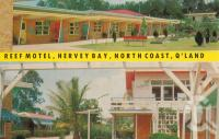 "<span class=""caption-caption"">Reef Motel, Hervey Bay</span>, c1960. <br />Postcard by <span class=""caption-publisher"">Unknown Publisher</span>, collection of <span class=""caption-contributor"">Centre for the Government of Queensland</span>."