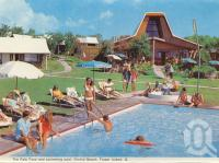 "<span class=""caption-caption"">The Fale Fono and swimming pool, Orchid Beach, Fraser Island</span>, c1970. <br />Postcard folder by <span class=""caption-publisher"">Murray Views Pty Ltd</span>, collection of <span class=""caption-contributor"">Centre for the Government of Queensland</span>."