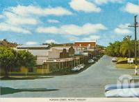 "<span class=""caption-caption"">Morgan Street, Mount Morgan</span>, c1966. <br />Postcard folder by <span class=""caption-publisher"">Sydney G Hughes Pty Ltd</span>, collection of <span class=""caption-contributor"">Centre for the Government of Queensland</span>."