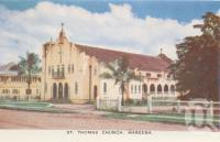 "<span class=""caption-caption"">St Thomas Church, Mareeba</span>, c1961. <br />Postcard folder by <span class=""caption-publisher"">GK Bolton</span>, collection of <span class=""caption-contributor"">John Young</span>."