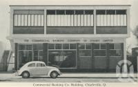 "<span class=""caption-caption"">Commercial Banking Co building, Charleville</span>, c1958. <br />Postcard folder by <span class=""caption-publisher"">Murray Views Pty Ltd</span>, collection of <span class=""caption-contributor"">John Young</span>."