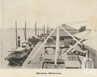"<span class=""caption-caption"">Mackay wharves</span>, c1908. <br />Postcard folder by <span class=""caption-publisher"">GC Wood</span>, collection of <span class=""caption-contributor"">John Young</span>."