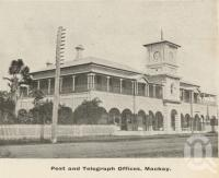 "<span class=""caption-caption"">Post and telegraph offices, Mackay</span>, c1908. <br />Postcard folder by <span class=""caption-publisher"">GC Wood</span>, collection of <span class=""caption-contributor"">John Young</span>."