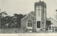 "<span class=""caption-caption"">Methodist Church, Mossman</span>, c1958. <br />Postcard folder by <span class=""caption-publisher"">Murray Views Pty Ltd</span>, collection of <span class=""caption-contributor"">John Young</span>."