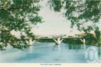 "<span class=""caption-caption"">William Jolly bridge</span>, c1958. <br />Postcard folder by <span class=""caption-publisher"">Sydney G Hughes Pty Ltd</span>, collection of <span class=""caption-contributor"">Centre for the Government of Queensland</span>."