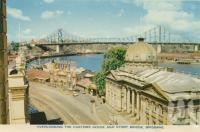 "<span class=""caption-caption"">Overlooking the Customs House and Story Bridge, Brisbane</span>, c1938. <br />Postcard folder by <span class=""caption-publisher"">Sydney G Hughes Pty Ltd</span>, collection of <span class=""caption-contributor"">Centre for the Government of Queensland</span>."