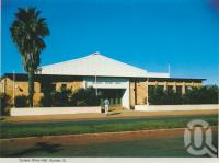 """<span class=""""caption-caption"""">Quilpie Shire Hall</span>, c1962. <br />Postcard folder by <span class=""""caption-publisher"""">Murray Views Pty Ltd</span>, collection of <span class=""""caption-contributor"""">Centre for the Government of Queensland</span>."""