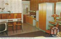 "<span class=""caption-caption"">Two-person unit interior, Bailey's Motel, Noosa Heads</span>, c1962. <br />Postcard folder by <span class=""caption-publisher"">Murray Views Pty Ltd</span>, collection of <span class=""caption-contributor"">Centre for the Government of Queensland</span>."