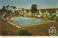 "<span class=""caption-caption"">Swimming pool and motel units, Bailey's Motel, Noosa Heads</span>, c1962. <br />Postcard folder by <span class=""caption-publisher"">Murray Views Pty Ltd</span>, collection of <span class=""caption-contributor"">Centre for the Government of Queensland</span>."