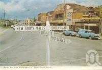 "<span class=""caption-caption"">Border sign Coolangatta-Tweed Heads</span>, 1962. <br />Postcard folder by <span class=""caption-publisher"">Murray Views Pty Ltd</span>, collection of <span class=""caption-contributor"">Centre for the Government of Queensland</span>."