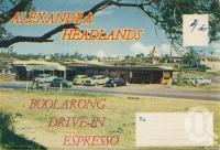 "<span class=""caption-caption"">Boolarong Drive-in Espresso, Alexandra Headland</span>, c1958. <br />Postcard folder by <span class=""caption-publisher"">Sydney G Hughes Pty Ltd</span>, collection of <span class=""caption-contributor"">Centre for the Government of Queensland</span>."