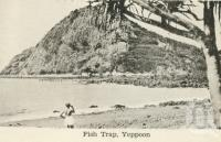 "<span class=""caption-caption"">Fish trap, Yeppoon</span>, c1938. <br />Postcard folder by <span class=""caption-publisher"">Unknown Publisher</span>, collection of <span class=""caption-contributor"">Centre for the Government of Queensland</span>."