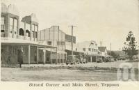 "<span class=""caption-caption"">Strand corner and main street, Yeppoon</span>, c1938. <br />Postcard folder by <span class=""caption-publisher"">Unknown Publisher</span>, collection of <span class=""caption-contributor"">Centre for the Government of Queensland</span>."