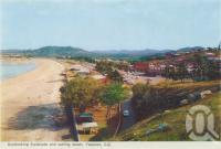 "<span class=""caption-caption"">Overlooking esplanade and surfing beach, Yeppoon</span>, 1965. <br />Postcard folder by <span class=""caption-publisher"">Murray Views Pty Ltd</span>, collection of <span class=""caption-contributor"">Centre for the Government of Queensland</span>."