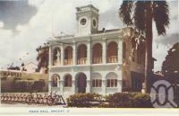"<span class=""caption-caption"">Town Hall, Mackay</span>, c1956. <br />Postcard folder by <span class=""caption-publisher"">Murray Views Pty Ltd</span>, collection of <span class=""caption-contributor"">Centre for the Government of Queensland</span>."