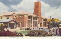 "<span class=""caption-caption"">Post office, Mackay</span>, c1956. <br />Postcard folder by <span class=""caption-publisher"">Murray Views Pty Ltd</span>, collection of <span class=""caption-contributor"">Centre for the Government of Queensland</span>."