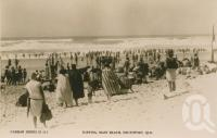 "<span class=""caption-caption"">Surfing Main Beach, Southport</span>, c1928. <br />Postcard by <span class=""caption-publisher"">Real Photograph</span>, collection of <span class=""caption-contributor"">Centre for the Government of Queensland</span>."