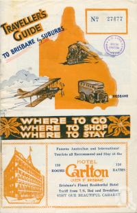 "<span class=""caption-caption"">Traveller's Guide to Brisbane and Suburbs</span>, c1928. <br />Pamphlet by <span class=""caption-publisher"">Unknown Publisher</span>, collection of <span class=""caption-contributor"">Centre for the Government of Queensland</span>."