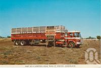 "<span class=""caption-caption"">Part of livestock road train at Winton</span>, c1960. <br />Postcard folder by <span class=""caption-publisher"">Murray Views Pty Ltd</span>, collection of <span class=""caption-contributor"">Centre for the Government of Queensland MS</span>."