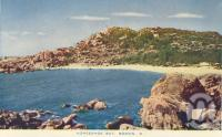 "<span class=""caption-caption"">Horseshoe Bay, Bowen</span>, c1955. <br />Postcard folder by <span class=""caption-publisher"">Sydney G Hughes Pty Ltd</span>, collection of <span class=""caption-contributor"">Centre for the Government of Queensland MS</span>."