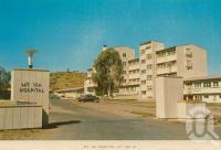 "<span class=""caption-caption"">Mt Isa Hospital, Mount Isa</span>, c1962. <br />Postcard folder by <span class=""caption-publisher"">Sydney G Hughes Pty Ltd</span>, collection of <span class=""caption-contributor"">Centre for the Government of Queensland MS</span>."