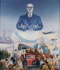 "<span class=""caption-caption"">Premier Forgan Smith and 'Representation of transport and industries in Queensland' by Noel Pascoe Lambert</span>, 1939. <br />Watercolour, collection of <span class=""caption-contributor"">John Oxley Library, SLQ</span>."