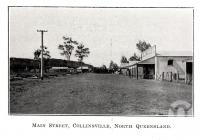 "<span class=""caption-caption"">Main street, Collinsville</span>. <br />From <span class=""caption-book"">The Bowen District and Whitsunday Passage</span>, <span class=""caption-publisher"">Queensland Government Intelligence and Tourist Bureau</span>, 1924, collection of <span class=""caption-contributor"">Fryer Library, UQ</span>."