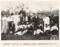 "<span class=""caption-caption"">Cricket Match at Deebing Creek Aboriginal Station</span>. <br />From <span class=""caption-book"">Jubilee History of Ipswich</span>, <span class=""caption-publisher"">Diddams</span>, 1910, collection of <span class=""caption-contributor"">Fryer Library, UQ</span>."