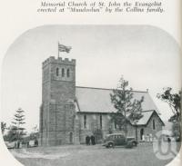 "<span class=""caption-caption"">Memorial Church of St John the Evangelist erected at ""Mundoolun"" by the Collins family</span>. <br />From <span class=""caption-book"">Gold Coast: The story of the Gold Coast of Queensland and Hinterland</span>, 1958, collection of <span class=""caption-contributor"">John Young</span>."