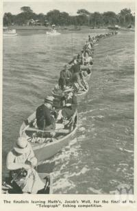 "<span class=""caption-caption"">Finalists Leaving Huth's, Jacob's Well, for the final of the 'Telegraph' fishing competition</span>, 1937. <br />Booklet, collection of <span class=""caption-contributor"">John Young</span>."