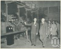 "<span class=""caption-caption"">Prime Minister menzies on an inspection of the Petrie paper mill</span>, 1957. <br />Booklet, collection of <span class=""caption-contributor"">John Young</span>."