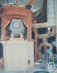 "<span class=""caption-caption"">The giant hydrapulper, Petrie paper mill</span>, 1957. <br />Booklet, collection of <span class=""caption-contributor"">John Young</span>."