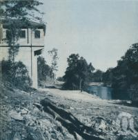 "<span class=""caption-caption"">Pumping Station on the North Pine River</span>, 1957. <br />Booklet, collection of <span class=""caption-contributor"">John Young</span>."