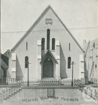 "<span class=""caption-caption"">Jirch Baptist Church, Fortitude Valley</span>, 1949. <br />Booklet, collection of <span class=""caption-contributor"">John Young</span>."
